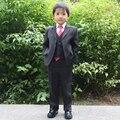 Flor menino terno Crianças ternos de Casamento Preto 4 peças Formais conjuntos de roupas para Meninos Blazers definir 80-170 cm Página menino Outfits roupas