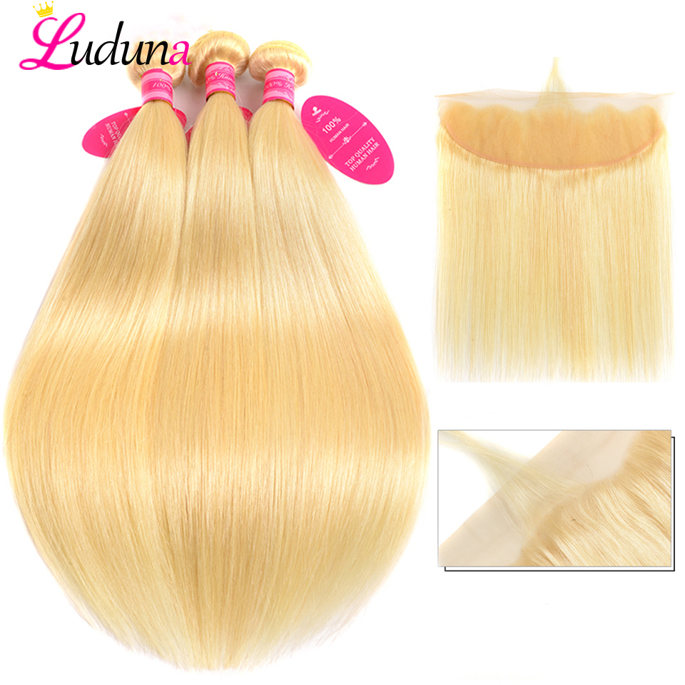 Luduna 613 Blonde Bundles With Frontal Brazilian Straight Human Hair Bundles With Closure Remy Hair Weave