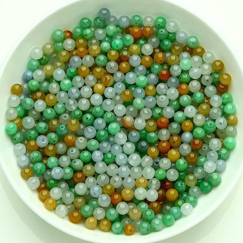 10PCS Natural Grade A Jade (Jadeite) loose Round bead/ Size: 4.5mm (Wholesale)