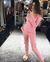 Wool Full O neck Cashmere 2019 New Knit Suit Mink Crimp Sleeves Round Collar Pullover Casual Trousers Two piece Female