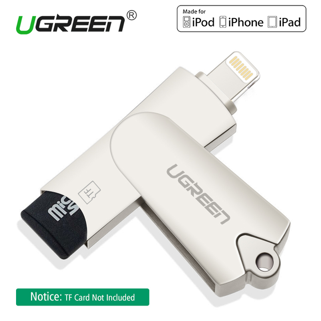 quality design dca20 dd9fd US $28.56 |Ugreen Lightning Card Reader MFi Micro SD TF Smart Memory Card  Adapter for iPhone X/5/6/7/8 Plus iPad 2018 USB OTG Card Reader-in Card ...