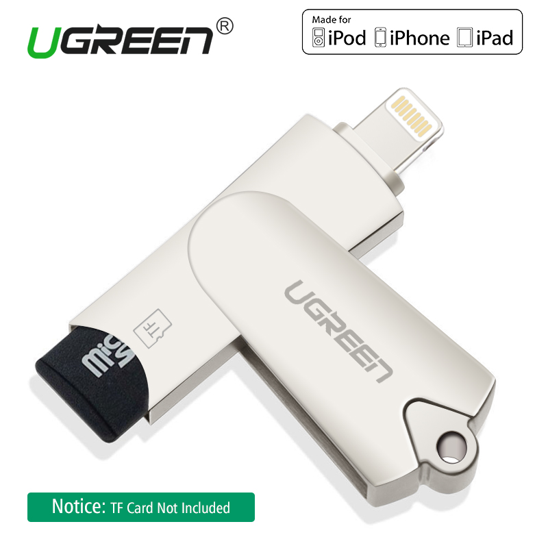 Ugreen MFi Lightning Micro SD/TF OTG Card Reader USB 2.0 Memory Mini Cardreader for iPhone 6/6s 7Plus iPod iPad OTG Card Reader mini usb 2 0 tf nano micro sd sdhc sdxc memory card reader writer usb flash drive memory card readers
