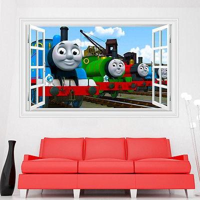 Cartoon 3D Window Decals Thomas U0026 Friends Train Wall Stickers Home Decor  PVC Boys Room Decal