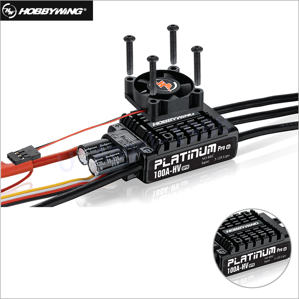 1pcs Original Hobbywing Platinum HV V3 100A 5-12S Lipo No BEC Speed Controller Brushless ESC for RC Drone Helicopter 1pcs original hobbywing platinum 100a v3 rc model brushless esc for multicopter for align trex 550 600 700 rc helicopter fixed w