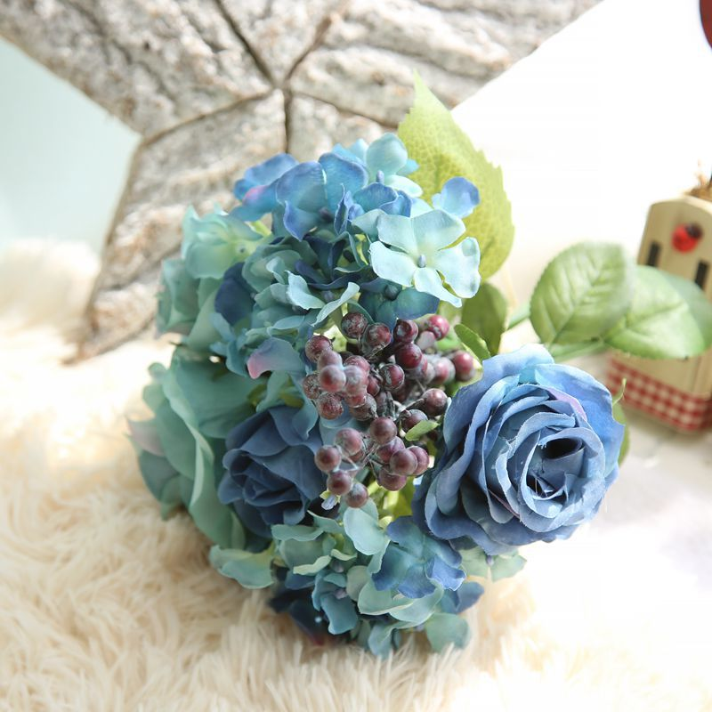 1 bunch 6pcs artificial flowers blue rose silk flower bouquet for 1 bunch 6pcs artificial flowers blue rose silk flower bouquet for home decoration hydrangea fake flower with plants berry in artificial dried flowers from mightylinksfo