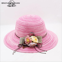BINGYUANHAOXUAN New Fashion Girls Flower Wide Brim Straw Hat Women Beach Hats adult Panama Fishing Foldable Summer Sun