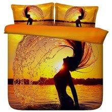 6 Parts Per Set Bed Sheet Set Beuatiful Mermaid at Sunset 3d Bedding Set