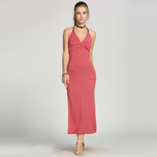 Women Halter V-Neck Backless Empire Waist Red and White Striped Maxi Long Dress Sexy Side Slit Club Dress