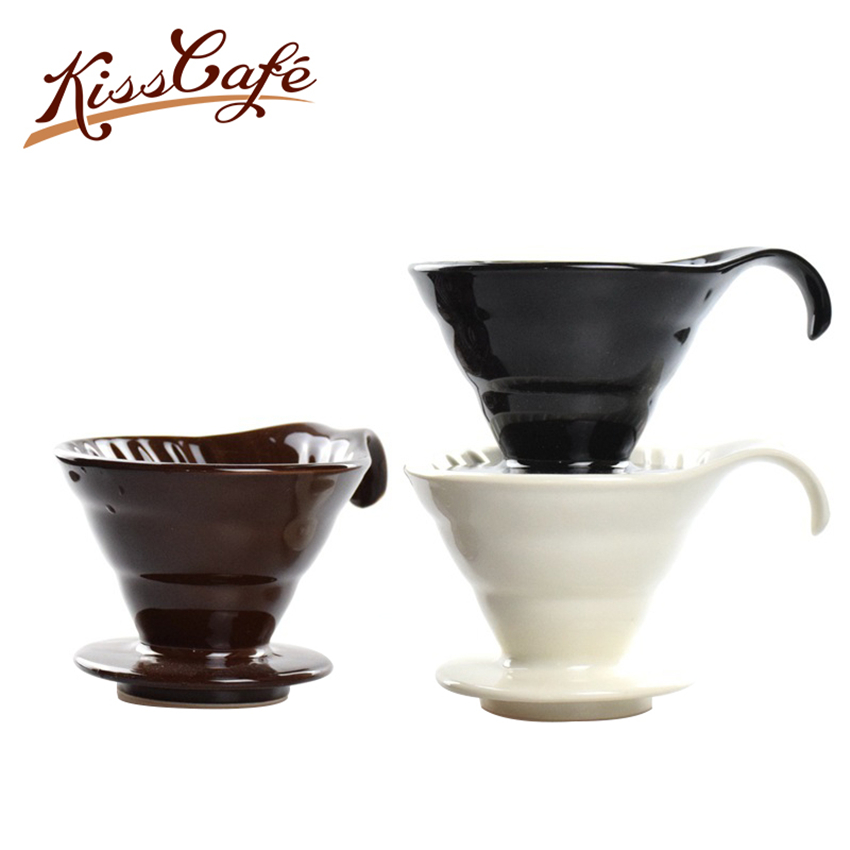 02 Size Dripper Ceramic Cup Coffee Maker V60 Coffee Drip Coffee Brewer White/Black/Brown Espresso Filters Coffee Accessories