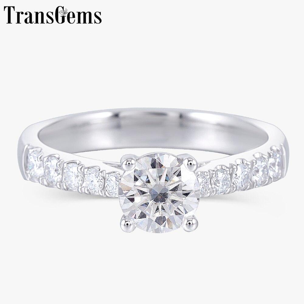 Transgems Solid 14K 585 White Gold 0 6ct 5 5mm F Color Moissanite Engagement Ring for