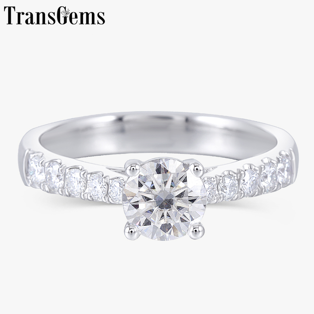 Transgems 솔리드 14 k 585 화이트 골드 0.6ct 5.5mm f 컬러 moissanite 약혼 반지 여성을위한 결혼 선물-에서반지부터 쥬얼리 및 액세서리 의  그룹 1