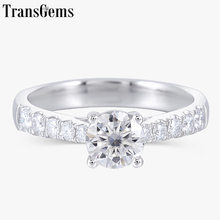 Transgems Solid 14K 585 White Gold 0.6ct 5.5mm F Color Moissanite Engagement Ring for Women Wedding Gift