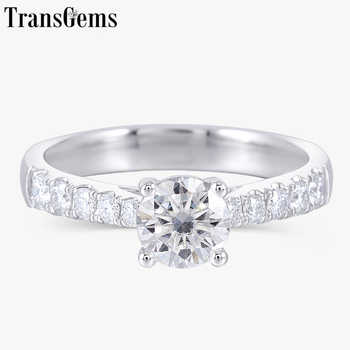 Transgems Solid 14K 585 White Gold 0.6ct 5.5mm F Color Moissanite Engagement Ring for Women Wedding Gift - SALE ITEM All Category