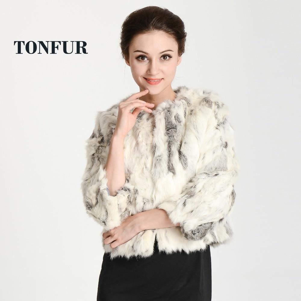 New Women Fashion Brand Design Real Genuine Natural Rabbit Fur Coat Free Shipping TFP311