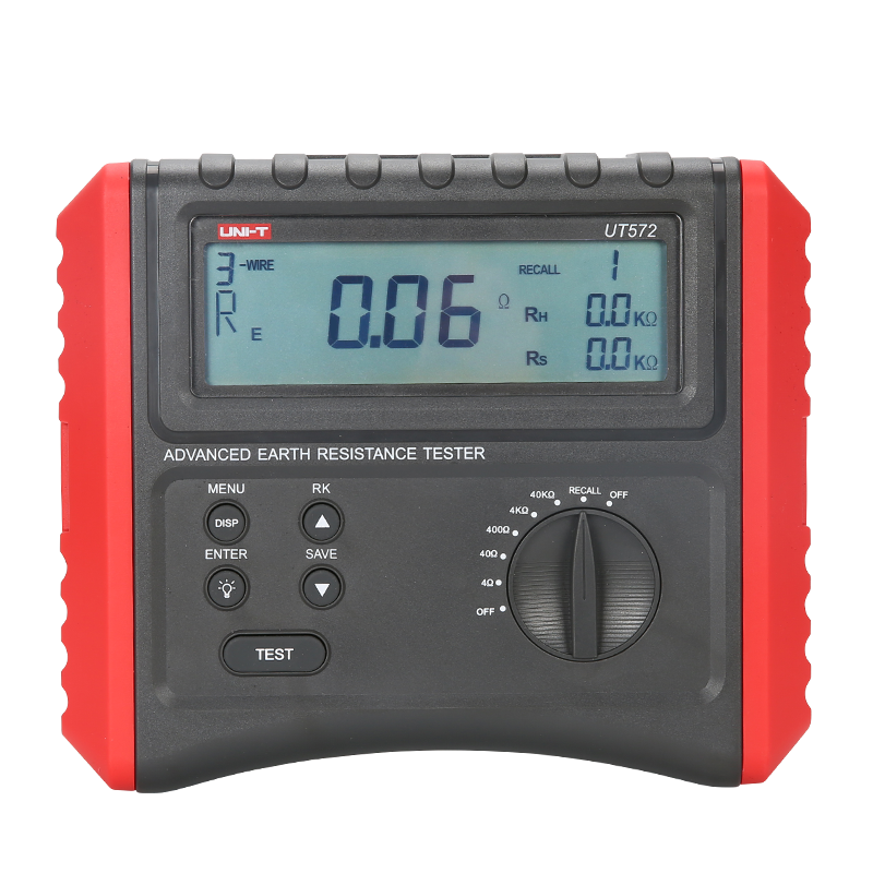 UNI T UT572 Advance Earth Resistance Tester Digital Earth Ground meter Soil Resistivity Test 4 digit LCD Display RH RS measure uni t ut521 2 8 lcd digital earth ground resistance voltage meter tester deep grey red 6 x aa