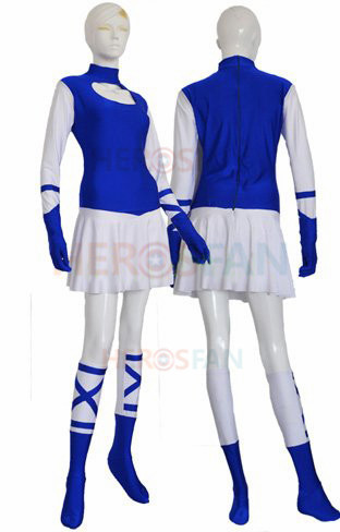 Royal Blue and White Superhero Spandex Lycra Dress Set Halloween Party Cosplay Zentai Suit