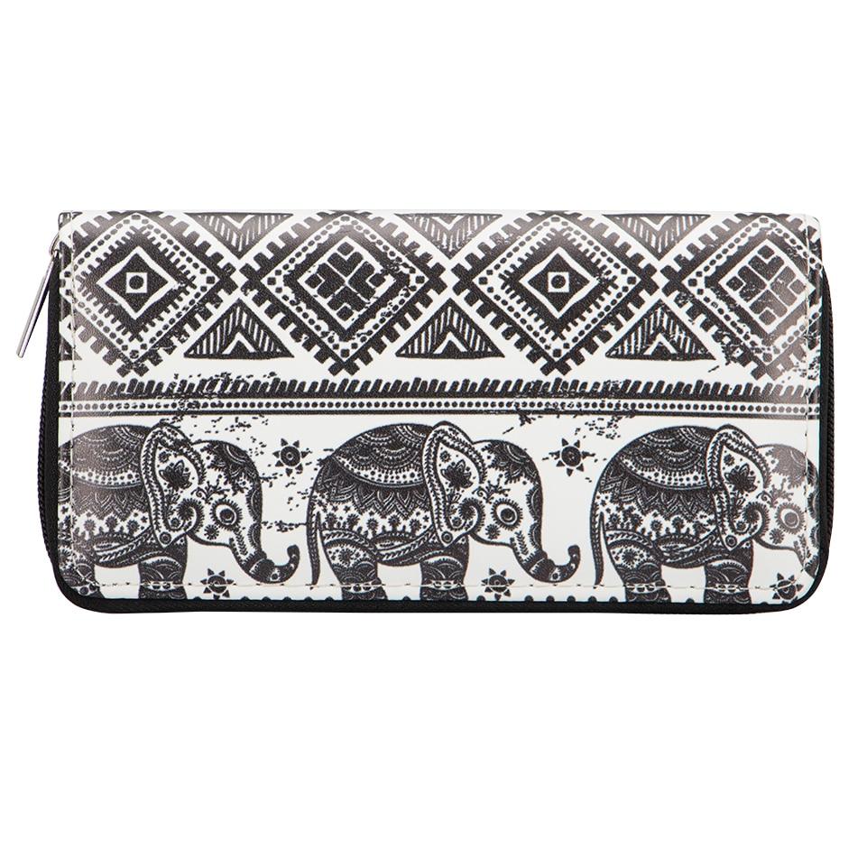Sansarya Bohemian Hippie Boho Aztec Tribal Ethnic Strip Black Elephant Long Women Wallet Card Holder Female Purse Money Bag ethnic style tribal print elastic waist skirt for women