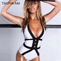 TAUPIN AM Sexy Women's Bodysuits Summer Jumpsuit Sleeveless Bodycon Cotton Playsuits Jumpsuits Lace Up Back Halter Bodysuit