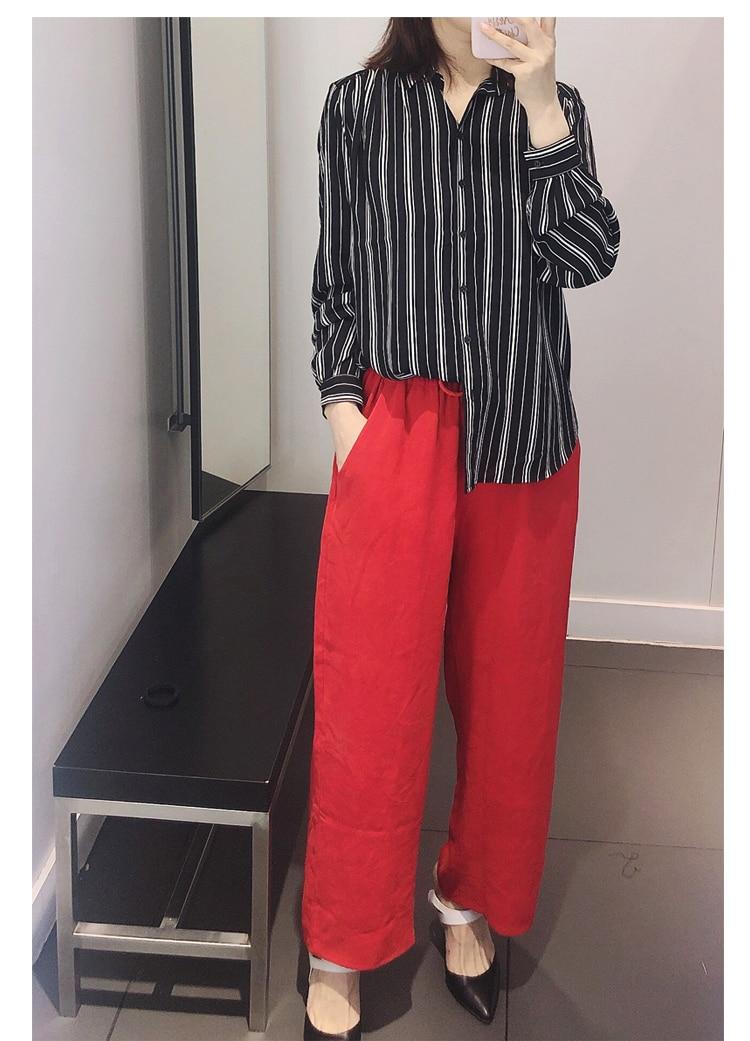 De Vacaciones Mujer Ropa Pierna Moda Verano Trabajo Vintage Rojo Natural Suelto Ancha Estilo Primavera Pantalones Seda 7qIxRnF