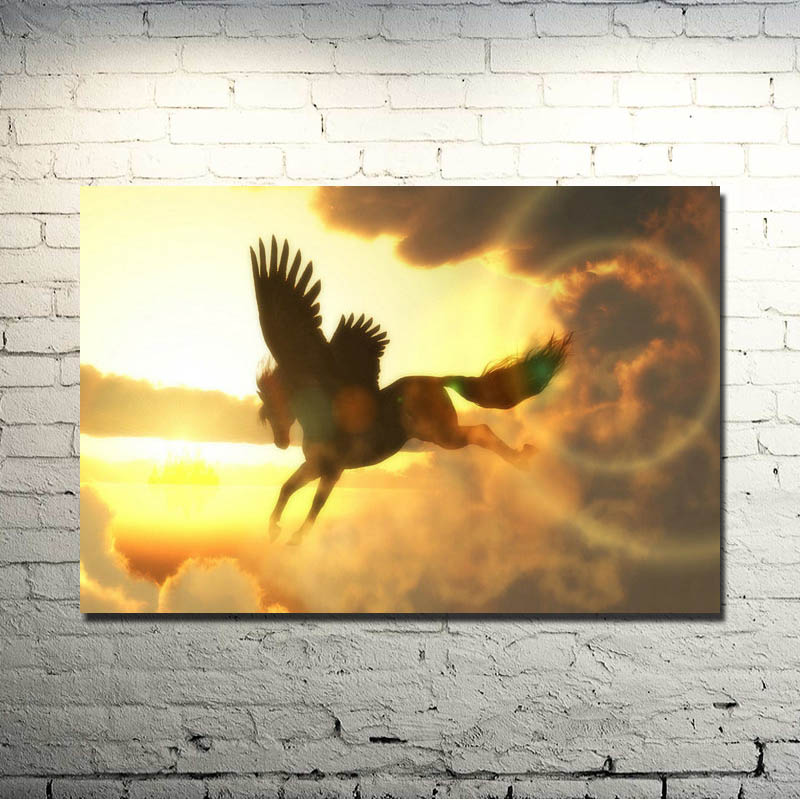 Horse Running Sunset Nature Animals Art Silk Poster Print 13x20 24x36 inch Nature Picture for Kids Home Decoration 022