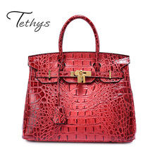 TETHYS Brand 2017 New Arrive Luxury Handbags Women Bags Designer Genuine Leather Female Bags Lock Alligator Bag Crossbody Bag