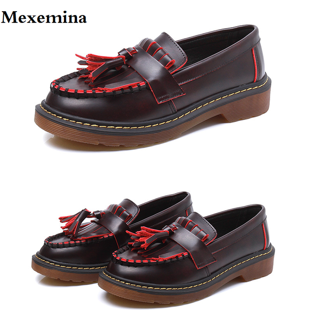 a455277027 Mexemina Brand Shoes Woman Casual Tassel Burgundy Oxford Shoes for Women  Flats Comfortable Slip-on Women Shoes Plus Size 34-43