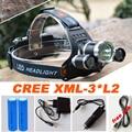 Led Headlamp Headlight 12000 Lumens Linterna Frontal 3x Cree XM-L2 Hiking Flashlight Head Torch Light with Charger