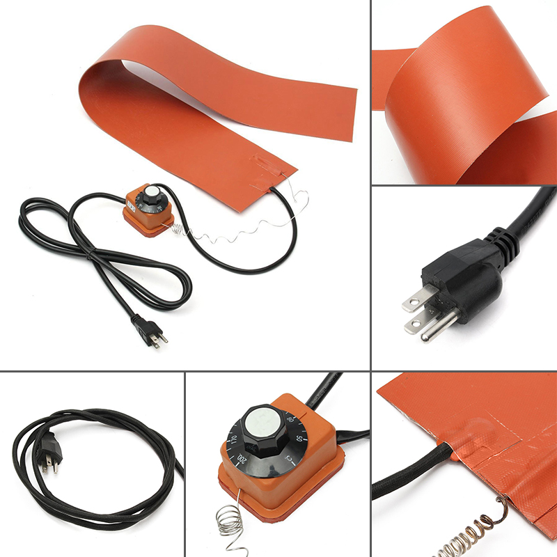 220V 1200W 36*5.9 Silicone Rubber Heating Blanket w/ Temp Controller for Guitar Side Bending dia 500mm 1200w 220v w 3m psa