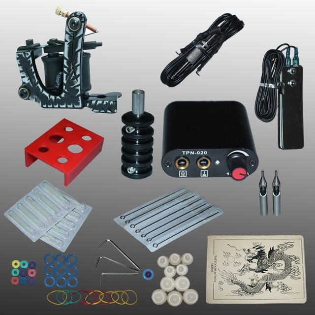 New Arrival 1 set Tattoo Kit Power Supply Gun  Complete Set Equipment Machine Wholesale 1110403kitA