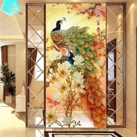 PSHINY 5D DIY Diamond Embroidery Lucky Flower Peacock Transparent Round Rhinestone Mosaic Animal Diamond Painting Cross
