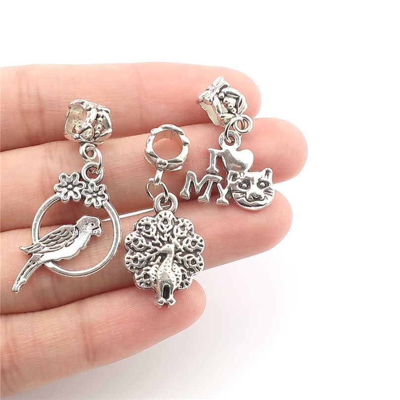 Hỗn hợp 40 cái/lốc Antique Mạ Bạc Động Vật Chams Beads đối với Châu Âu Charms Vòng Tay Trang Sức Làm Phụ Kiện TỰ LÀM