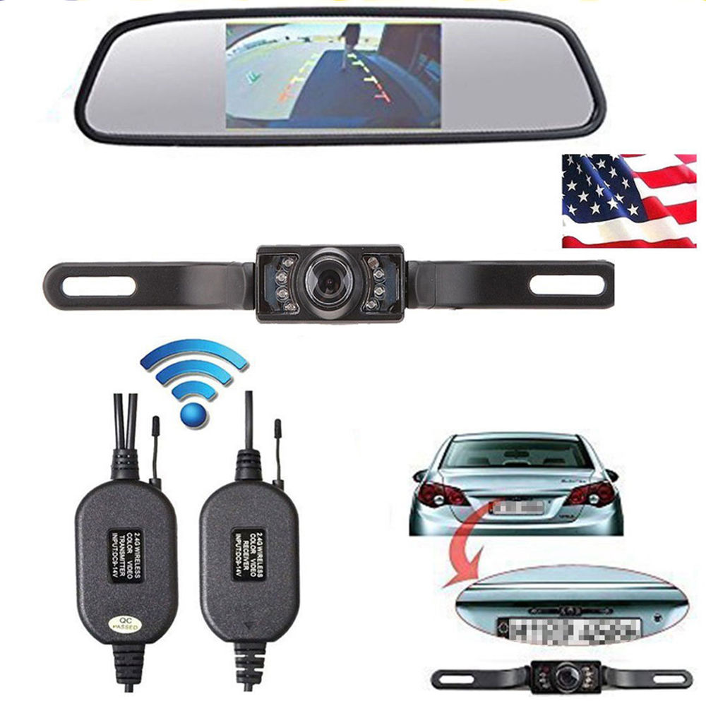 wireless reverse car rear view camera 4 3 tft rearview mirror monitor hd video parking led. Black Bedroom Furniture Sets. Home Design Ideas
