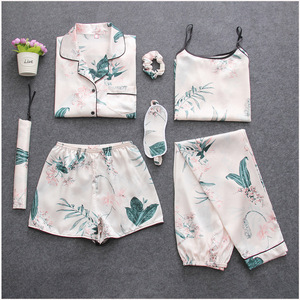 Image 4 - Women Pajamas 7 Piece Set Ice Silk Prints Long Sleeve Top Elastic Waist Pants ladies Full Lounge Women Sleepwear Set Home Suits