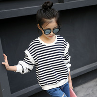 フリルパッチワークロングスリーブガールズtシャツ春秋のブランド子供服子供tシャツガールカジュアル十代の女の子服