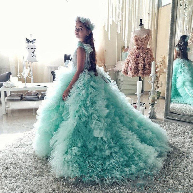 kids gowns with ruffles