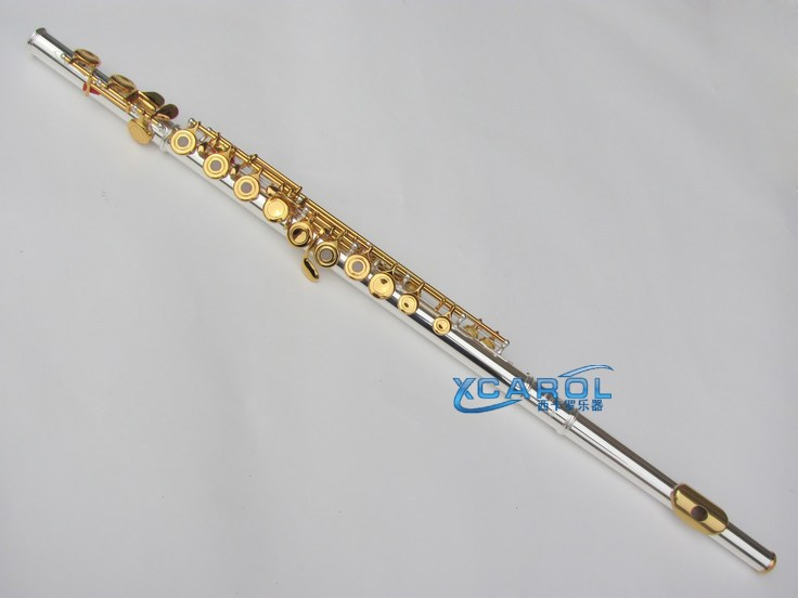 Advanced New 16 open hole Flute C key +E Gold Plate Keys with Silver plate Body new gold lacquer 16 closed hole flute c key e