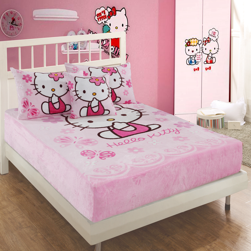 Cartoon Hello KT Pink Fitted Sheet with an Elastic Band Bed Sheets Linen Polyester Mattress Cover Single 1.2m 1.5m 1.8m BedCartoon Hello KT Pink Fitted Sheet with an Elastic Band Bed Sheets Linen Polyester Mattress Cover Single 1.2m 1.5m 1.8m Bed