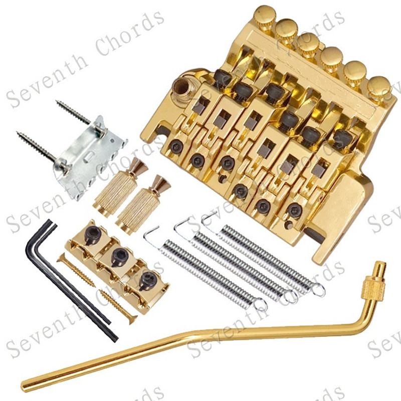 qhx gold electric guitar tremolo bridge double locking assembly systyem tremolo bridge guitar. Black Bedroom Furniture Sets. Home Design Ideas