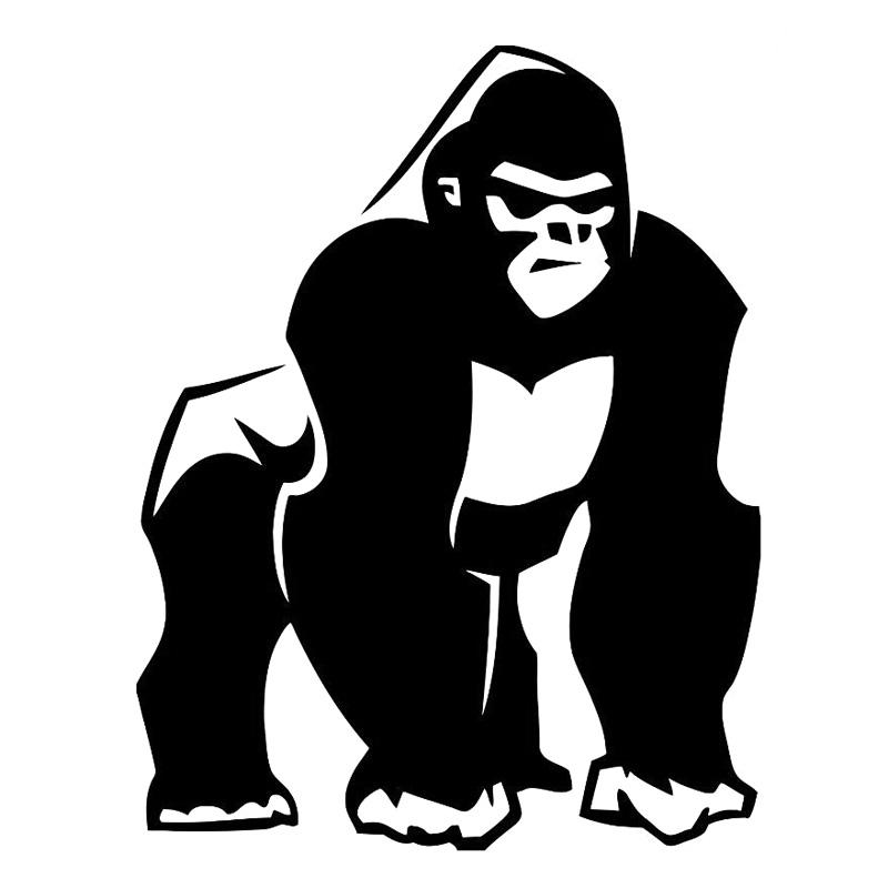 12.5cm*16.2cm Gorilla Monkey Primate Decor Vinyl Stickers Decals Black/Silver S3-6051