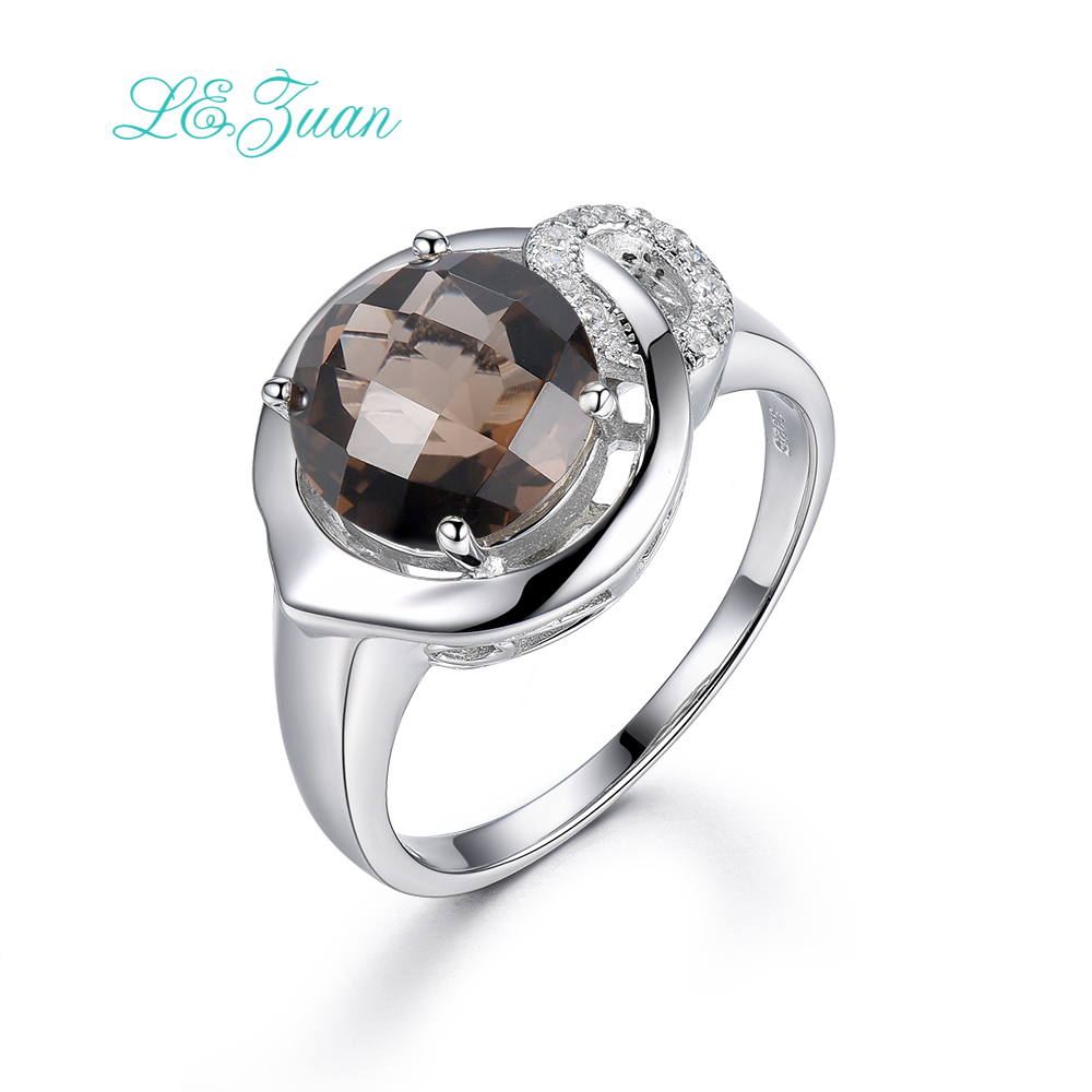 I&zuan 925 Sterling Silver Jewelry Ring 3.7ct Natural Smoky Quartz Romantic Luxury Rings Brown Stone Ring For Women