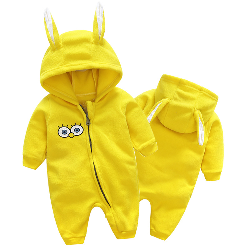 Lovely baby girls thick fleece long sleeve rompers fashion autumn winter kids cartoon hooded overalls infant jumpers 17A801