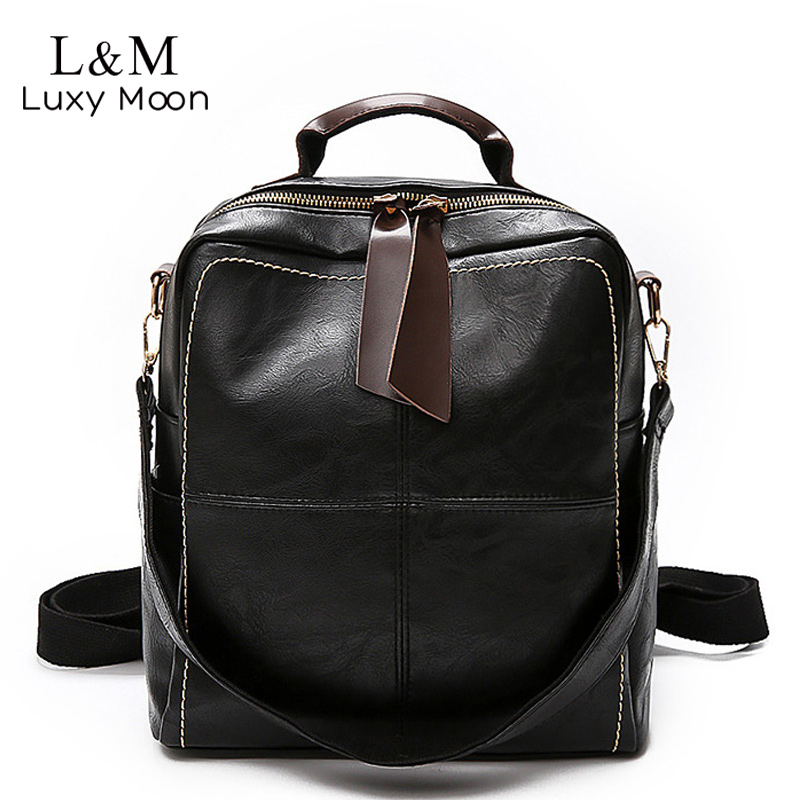 Women Multifunction Backpack Soft Leather Shoulder Bag Female Large Solid Teenage Girls School Backpacks Travel Mochila XA1203H
