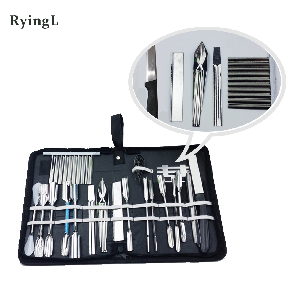 25pcs/set Vegetable Fruit Food Carving Tools Set Engraving Chef Knives  Kit With Case