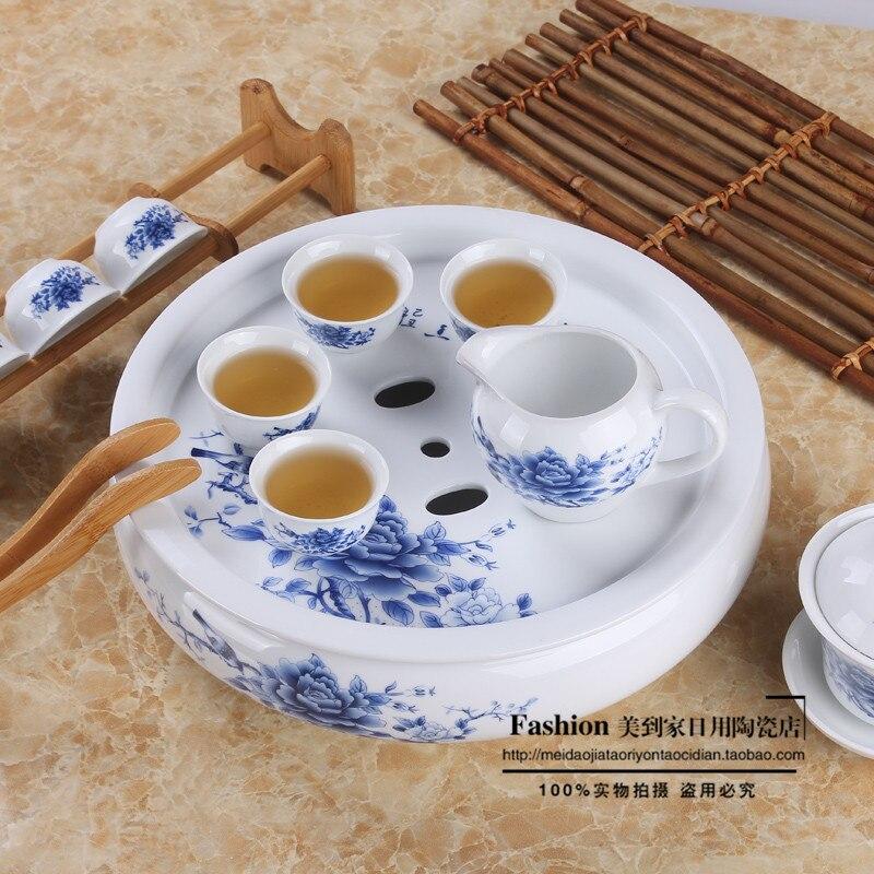 Set de thé Kung Fu pour thé noir, thé à café en porcelaine bleu et blanc