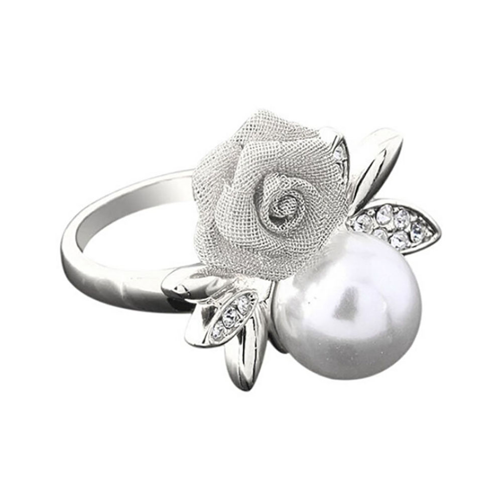 Retro Flower RING Women's Rose Faux Pearl Ring Clear Crystal Gold Rings Party Jewelry Gift