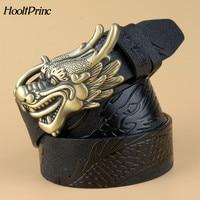 HooltPrinc New hot designer leather mens belt Real leather black belt men Cowskin gold Dragon head Buckle famous brand belts men