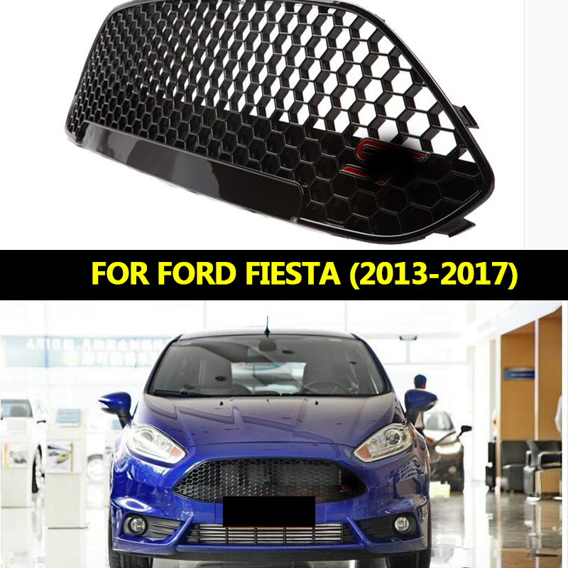 ABS Front Middle Grille Black Varnish ST Refitting Grille Racing Grille For Ford New Fiesta 2013 2014 2015 2016 2017