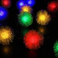 480CM Solar Power Ball Fuzz 20 LED String Lights Warm White Colorul Led Fairy Light Outdoor