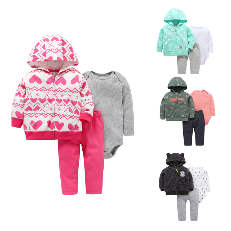 2019 Latest Design 3pcs Sets Baby Boy Girl Clothes Set Newborn Clothes Tops Sweater+pants+bodysuit Winter Infant Toddle Girls Clothing Outfit