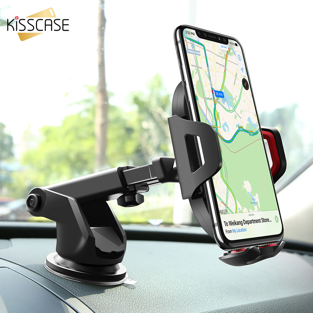 KISSCASE Universal Car Phone Holder Adjustable Mobile Phone Dashboard Holder For iPhone 8 X Samsung GPS Windshield Stand Holder